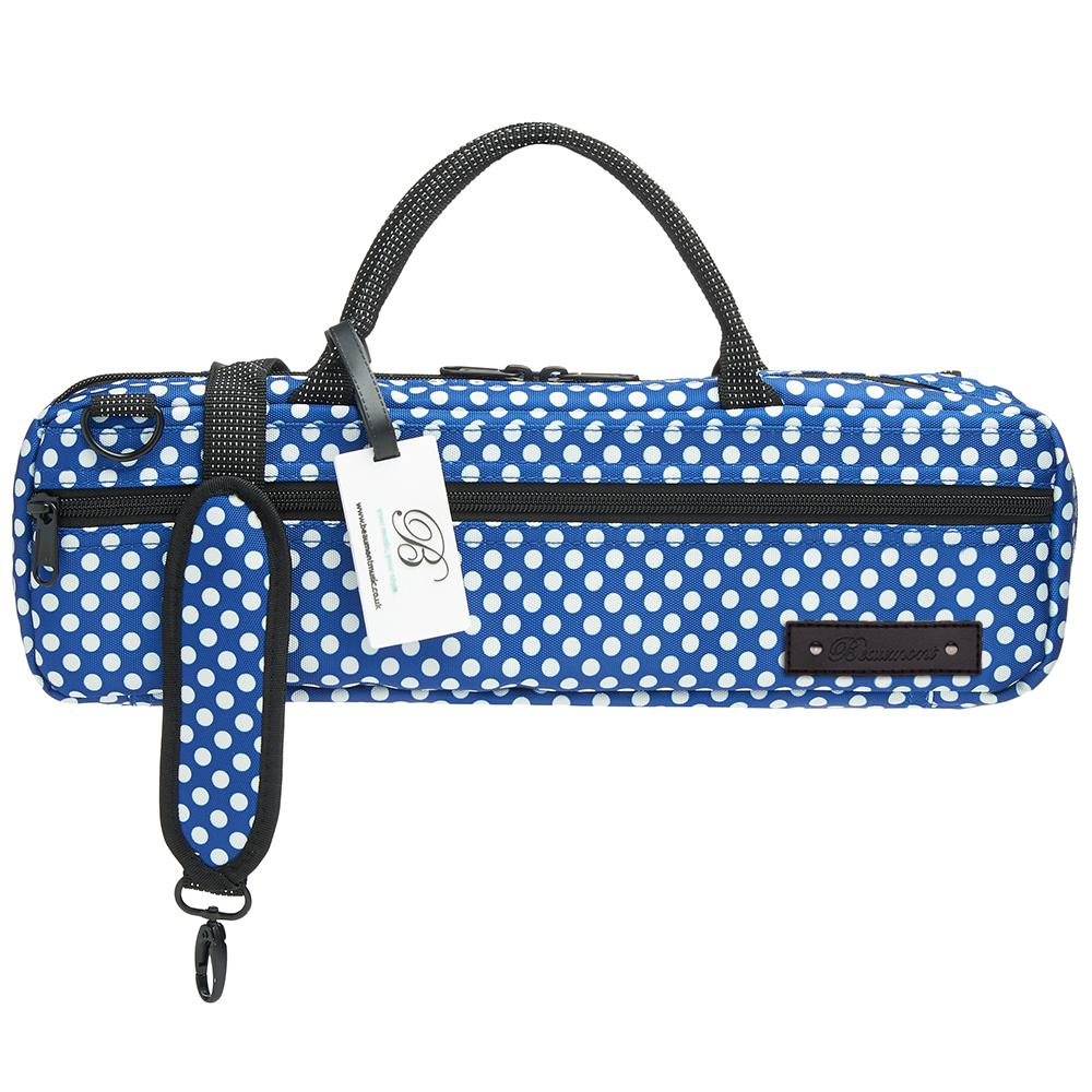 24d034ae1dc Beaumont Blue Polka Dot C-foot Flute Bag. Beautifully handmade flute carry case  in ...